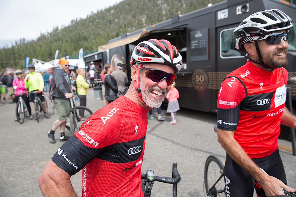 Tony Watts, left, and Dave Page wait for the finish of stage five of the Amgen Tour of California Thursday, May 19, 2016 in South Lake Tahoe, Calif.Thursday, May 19, 2016 during stage five of the Amgen Tour of California in South Lake Tahoe, Calif.