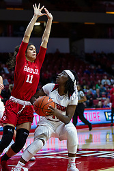 NORMAL, IL - February 07: Tete Maggett defended by Lasha Petree during a college women's basketball game between the ISU Redbirds and the Braves of Bradley University February 07 2020 at Redbird Arena in Normal, IL. (Photo by Alan Look)