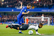 Chelsea midfielder Cesc Fabregas (4)brings down Derby County defender Jayden Bogle (37) during the EFL Cup 4th round match between Chelsea and Derby County at Stamford Bridge, London, England on 31 October 2018.