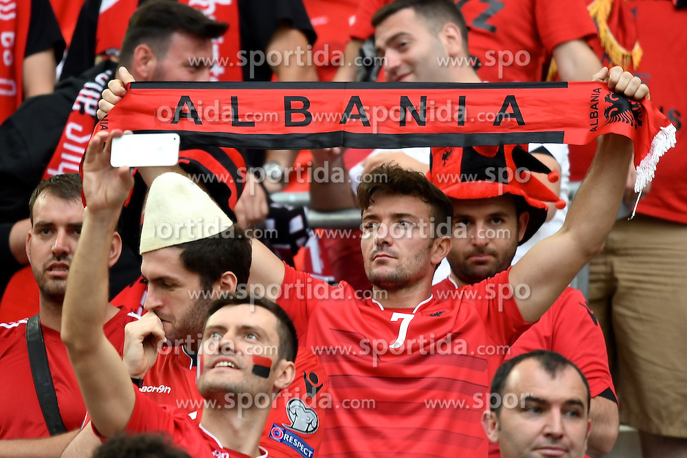 15.06.2016, Stade Velodrome, Marseille, FRA, UEFA Euro, Frankreich, Frankreich vs Albanien, Gruppe A, im Bild General view of the stadium showing Albania fans // General view of the stadium showing Albania fans during Group A match between France and Albania of the UEFA EURO 2016 France at the Stade Velodrome in Marseille, France on 2016/06/15. EXPA Pictures &copy; 2016, PhotoCredit: EXPA/ Focus Images/ Kristian Kane<br /> <br /> *****ATTENTION - for AUT, GER, FRA, ITA, SUI, POL, CRO, SLO only*****