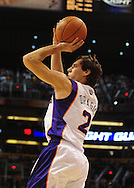 Oct. 29 2010; Phoenix, AZ, USA; Phoenix Suns guard Goran Dragic (2) puts up a shot against the Los Angeles Lakers during the second quarter at the US Airways Center. Mandatory Credit: Jennifer Stewart-US PRESSWIRE.