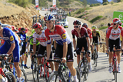 Dutch Champion Fabio Jakobsen (NED) Deceuninck-Quick Step in the grupetto on the final Cat 1 climb up to Observatorio Astrofisico de Javalambre during Stage 5 of La Vuelta 2019 running 170.7km from L'Eliana to Observatorio Astrofisico de Javalambre, Spain. 28th August 2019.<br /> Picture: Eoin Clarke | Cyclefile<br /> <br /> All photos usage must carry mandatory copyright credit (© Cyclefile | Eoin Clarke)