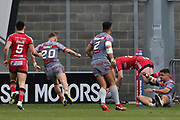 Jake Bibby for Salford Reds scores the first try during the Betfred Super League match between Salford Red Devils and Catalan Dragons at the AJ Bell Stadium, Eccles, United Kingdom on 30 March 2018. Picture by George Franks.