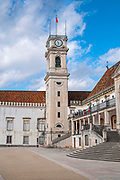 The bell tower, Clock tower and Patio das Escolas courtyard of the old University of Coimbra, Portugal