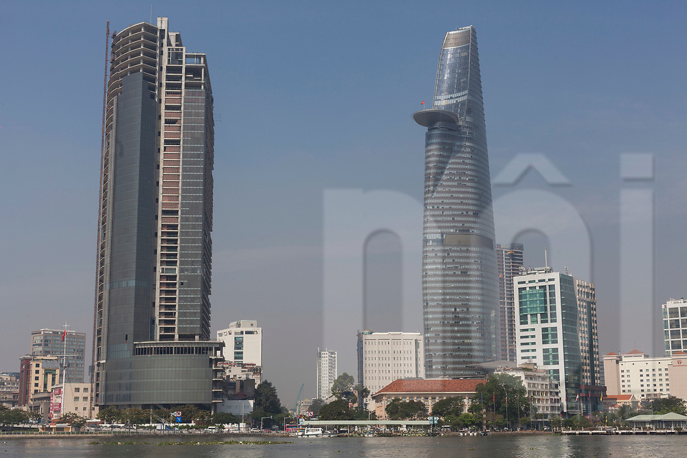 Bitexco tower seen from across the Saigon River, Ho Chi Minh City, Vietnam, Southeast Asia