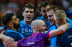 18-05-2019 GER: CEV CL Super Finals Zenit Kazan - Cucine Lube Civitanova, Berlin<br /> Civitanova win the Champions League by beating Zenit in four sets / Earvin Ngapeth #9 of Zenit Kazan, Matthew John Anderson #1 of Zenit Kazan, Artem Volvich #4 of Zenit Kazan