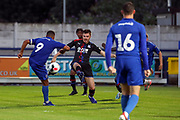 AFC Wimbledon striker Kweshi Appiah (9) shoots on goal during the Pre-Season Friendly match between AFC Wimbledon and Crystal Palace at the Cherry Red Records Stadium, Kingston, England on 30 July 2019.