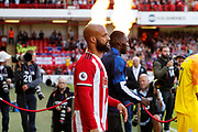 David McGoldrick of Sheffield United walks out for the Premier League match between Sheffield United and Crystal Palace at Bramall Lane, Sheffield, England on 18 August 2019.