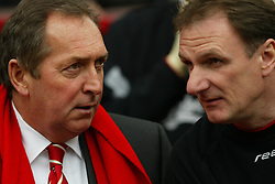MANCHESTER, ENGLAND - Saturday, April 5, 2003: Liverpool's manager Ge?rard Houllier and assistant Phil Thompson against Manchester United during the Premiership match at Old Trafford. (Pic by David Rawcliffe/Propaganda)