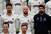 Jack Leach (Centre) during team shot with the Specsavers County Championship kit at the club media day at Somerset County Cricket Club at the Cooper Associates County Ground, Taunton, United Kingdom on 11 April 2018. Picture by Graham Hunt.