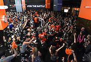 Thousands of participants ride at this weekend's Cycle for Survival event in New York, Sunday, March 13, 2016.  Cycle for Survival is the national movement to beat rare cancers. 100 percent of funds raised go directly to rare cancer research led by Memorial Sloan Kettering. More than $100 million has been raised since the first ride ten years ago, thanks to support from founding partner Equinox. For more information, visit www.cycleforsurvival.org. (Diane Bondareff/AP Images for Cycle for Survival)
