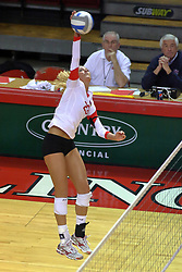 09 October 2009: Mallory Leggett goes high to strike an attack from the far left. The Redbirds of Illinois State defeated the Braves of Bradley in 3 sets during play in the Redbird Classic on Doug Collins Court inside Redbird Arena in Normal Illinois