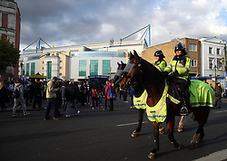Police on horseback outside the ground before the Premier League match at Stamford Bridge, London.