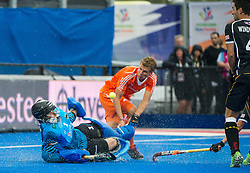 Germany's Nicolas Jacobi makes a save. The Netherlands v Germany - Final Unibet EuroHockey Championships, Lee Valley Hockey & Tennis Centre, London, UK on 29 August 2015. Photo: Simon Parker