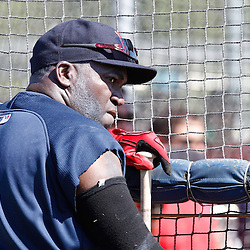 February 19, 2011; Fort Myers, FL, USA; Boston Red Sox first baseman David Ortiz (34) watches batting practice during spring training at the Player Development Complex.  Mandatory Credit: Derick E. Hingle