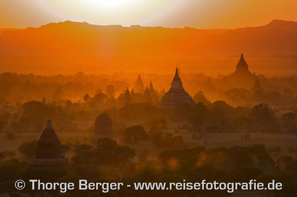 Bagan seen from a hot-air balloon