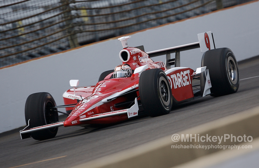IndyCar series driver Scott Dixon seen on the track during practice for the Indy 500 at the Indianapolis Motor Speedway on May 9, 2007.
