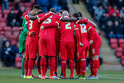 Leyton Orient  huddle up during the Sky Bet League 2 match between Leyton Orient and York City at the Matchroom Stadium, London, England on 21 November 2015. Photo by Simon Davies.