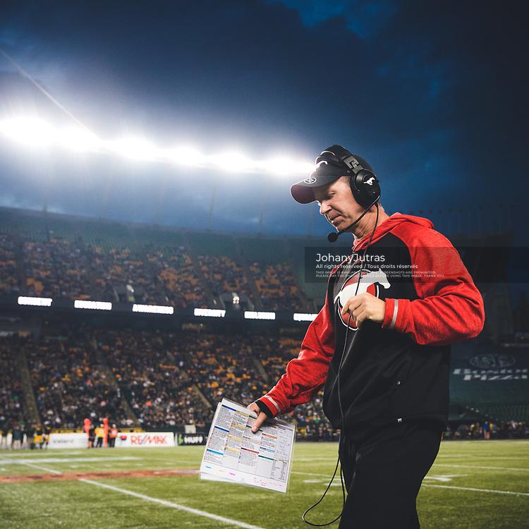 Calgary Stampeders head coach Dave Dickenson during the game against the Edmonton Eskimos at Commonwealth Stadium in Edmonton AB, Saturday, September 9, 2017. (Photo: Johany Jutras)