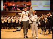 DEBBIE TOKSVIG; SANDI TOKSVIG;, Sandi  and Debbie Toksvig,  renewing their civil partnership vows at the Royal Festival Hall. London. 29 March 2014.