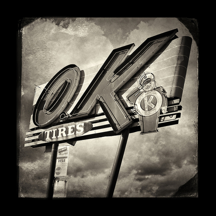 "Charles Blackburn image of the OK Tires sign in Salem, OR. 5x5"" print."