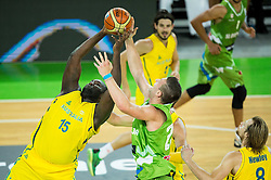 Nathan Jawai of Australia vs Alen Omic of Slovenia during friendly basketball match between National teams of Slovenia and Australia, on August 4, 2015 in Arena Stozice, Ljubljana, Slovenia. Photo by Vid Ponikvar / Sportida