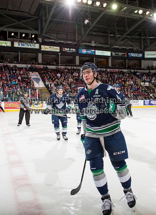 KELOWNA, CANADA - FEBRUARY 13: Turner Ottenbreit #4 of the Seattle Thunderbirds skates to the bench to celebrate Seattle's first goal against the Kelowna Rockets on February 13, 2017 at Prospera Place in Kelowna, British Columbia, Canada.  (Photo by Marissa Baecker/Shoot the Breeze)  *** Local Caption ***