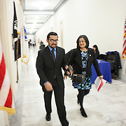 "Representative Pramila Jayapal (D-WA, 7), accompanied by Communications Director, Omer Farooque, walk to the United States Capitol from her office to support the introduction of H.R 724 by Rep. Zoe Lofgren (D-CA) to ""revoke President Trump's January 27, 2017 executive order...[and] block funding for any enforcement of the order,"" on Tuesday, January 31, 2017.  John Boal photo/for The Stranger"