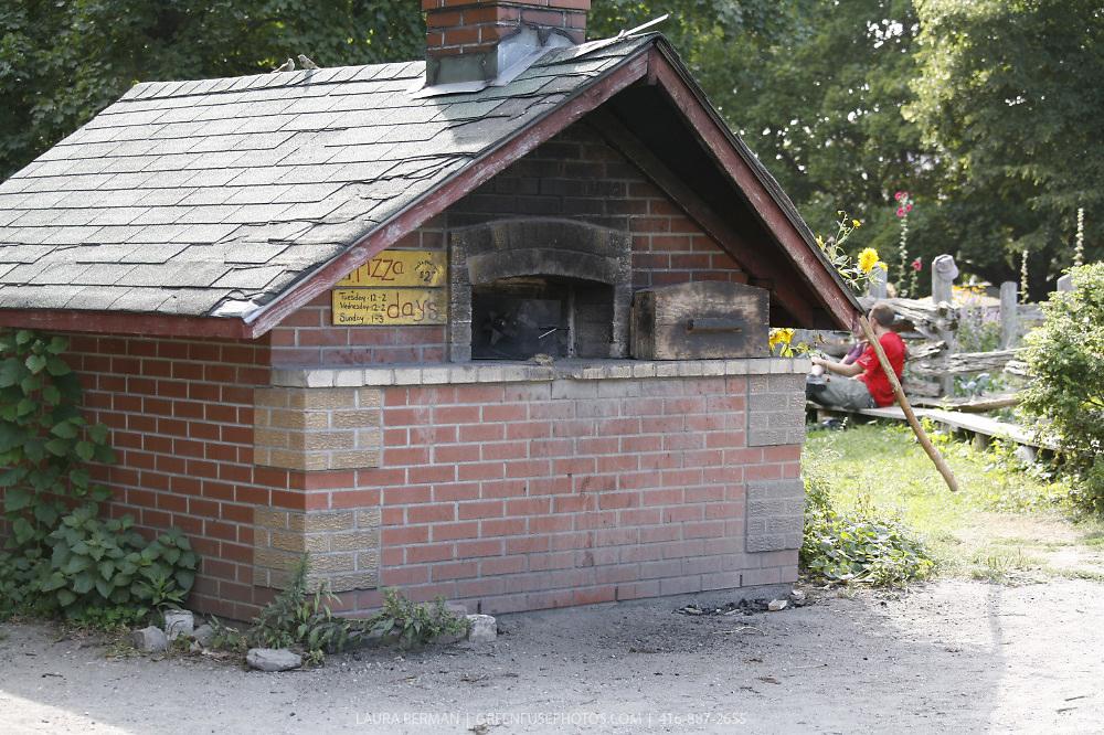Wood-fired outdoor bread oven in Dufferin Grove Park, Toronto, Ontario, Canada.