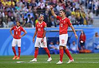 FUSSBALL  WM 2018  Achtelfinale  03.07.2018 Schweden - Schweiz Granit Xhaka (Schweiz) nachdenklich