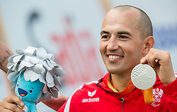 Second placed Thomas Fruhwirth of Austria celebrates  during Victory ceremony after the Men's Time Trial H4 Cycling Road competition during Day 7 of the Rio 2016 Summer Paralympics Games on September 14, 2016 in Olympic Aquatics Stadium, Rio de Janeiro, Brazil. Photo by Vid Ponikvar / Sportida