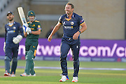 Graham Napier smiling during his last over during the Natwest T20 Blast quarter final match between Nottinghamshire County Cricket Club and Essex County Cricket Club at Trent Bridge, West Bridgford, United Kingdom on 8 August 2016. Photo by Simon Trafford.
