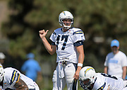 Aug 6, 2018; Costa Mesa, CA, USA: Los Angeles Chargers quarterback Philip Rivers (17) reacts during training camp at the Jack. R. Hammett Sports Complex.