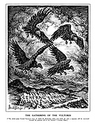 "The Gathering of the Vultures. [""The whole great Central European area, of which the Bohemian valley and lands are only a segment, will be renovated through the political will of the Fuehrer."" - German paper.] (Nazi vultures form a Swastika above Central Europe and a growing storm)"