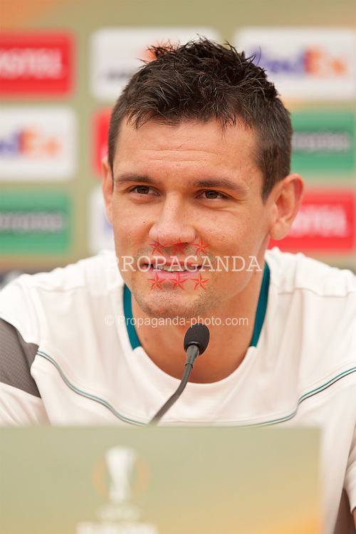 LIVERPOOL, ENGLAND - Wednesday, May 4, 2016: Liverpool's Dejan Lovren during a press conference at Melwood Training Ground ahead of the UEFA Europa League Semi-Final 2nd Leg match against Villarreal CF. (Pic by David Rawcliffe/Propaganda)