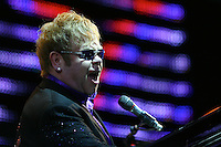 DUNEDIN, NEW ZEALAND - NOVEMBER 25:  Elton John performs on stage at Forsyth Barr Stadium on November 25, 2011 in Dunedin, New Zealand.  (Photo by Teaukura Moetaua/Getty Images) *** Local Caption *** Elton John