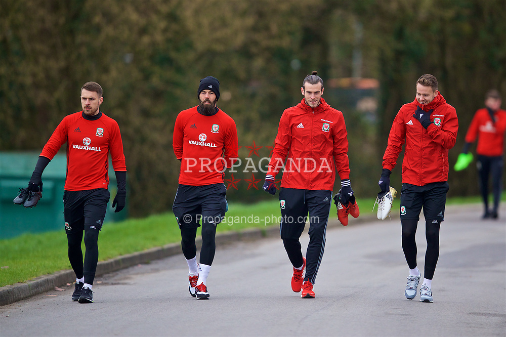 CARDIFF, WALES - Thursday, March 23, 2017: Wales' Aaron Ramsey, Joe Ledley, Gareth Bale and Chris Gunter arrive for a training session at the Vale Resort ahead of the 2018 FIFA World Cup Qualifying Group D match against Republic of Ireland. (Pic by David Rawcliffe/Propaganda)