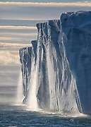 Waterfalls created by the melting Austfonna Ice Cap in Svalbard.