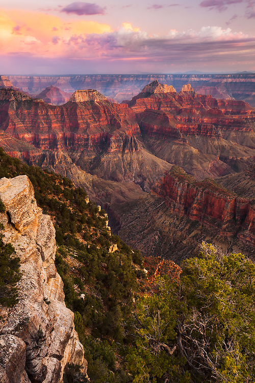 A Grand Canyon sunset from Bright Angel Point on the North Rim.
