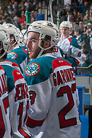 KELOWNA, CANADA - APRIL 14: Reid Gardiner #23 of the Kelowna Rockets stands on the bench against the Portland Winterhawks on April 14, 2017 at Prospera Place in Kelowna, British Columbia, Canada.  (Photo by Marissa Baecker/Shoot the Breeze)  *** Local Caption ***