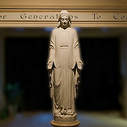 This is a different view of the life size statue of Mary. There are lights from several directions that all compliment the radiant glow around her.