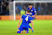 Leicester City midfielder Danny Drinkwater (4) celebrates with Leicester City defender Danny Simpson (17) after scoring a goal to make it 2-0 during the Premier League match between Leicester City and Liverpool at the King Power Stadium, Leicester, England on 27 February 2017. Photo by Jon Hobley.