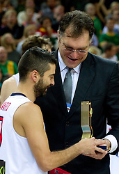 Juan Carlos Navarro of Spain and Arvydas Sabonis, ex-player of Lithuania at medal ceremony after the final basketball game between National basketball teams of Spain and France at FIBA Europe Eurobasket Lithuania 2011, on September 18, 2011, in Arena Zalgirio, Kaunas, Lithuania. Spain defeated France 98-85 and became European Champion 2011, France placed second and Russia third. (Photo by Vid Ponikvar / Sportida)
