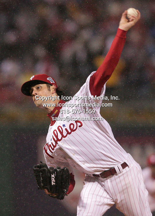 Oct 27, 2008 - Philadelphia, Pennsylvania, USA - 104th Major League Baseball's World Series between the winners of the American and National Leagues. The Fall Classic 2008 is between AL - Tampa Bay Rays and NL - Philadelphia Phillies. Game Five. PICTURED: Phillies' COLE HAMELS throws in the pouring rain in the sixth inning