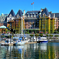The Empress Hotel and Inner Harbour in Victoria, Canada<br />