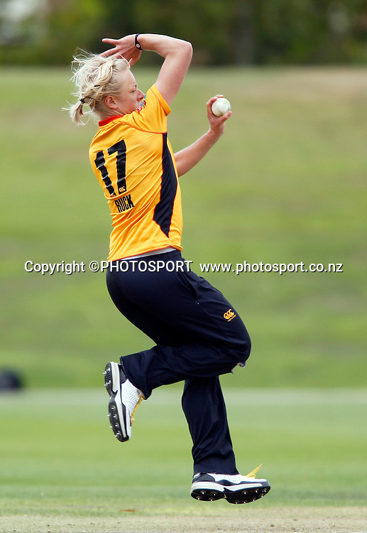 Sian Ruck bowling for Wellington. Canterbury Magicians v Wellington Blaze in the Action Cricket Cup Final. Women's Cricket. QEII Park, Christchurch, New Zealand. Sunday, 30 January 2011. Joseph Johnson / PHOTOSPORT.