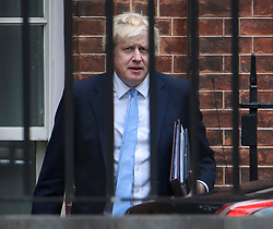 © Licensed to London News Pictures. 09/09/2019. London, UK. PM BORIS JOHNSON is seen leaving Downing Street in Westminster, London to head to parliament. British Prime Minister Boris Johnson os expected to prorogue Parliament this evening, in the run up to Britain's planned Brexit deadline of October 31st. Photo credit: Ben Cawthra/LNP