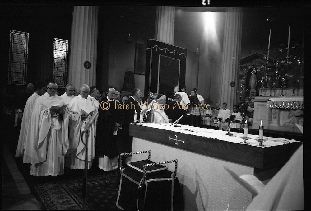 Archbishop Ryan Installed as Archbishop of Dublin..1972..27.02.1972..02.27.1972..27th February 1972..The installation of the Most Rev Dr Dermot Ryan as Archbishop of Dublin took place in The pro Cathedral,Dublin on Sunday 27th Feb 1972..Image taken as the newly appointed Archbishop of Dublin,Dr Dermot Ryan,is seated on the throne in the Pro Cathedral.