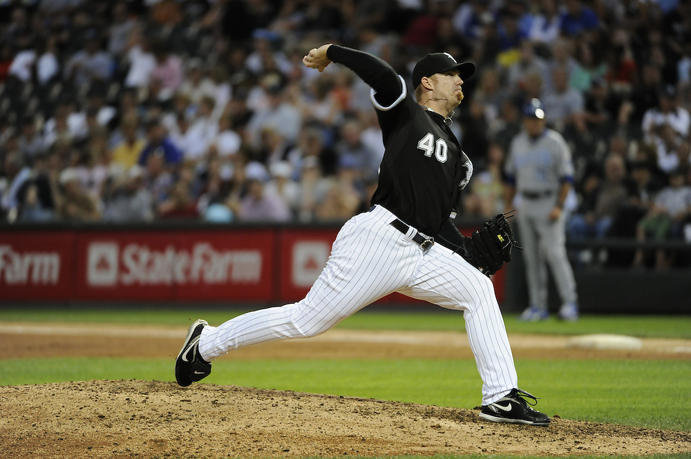 CHICAGO - JULY 10:  J.J. Putz #40 of the Chicago White Sox pitches against the Kansas City Royals on July 10, 2010 at U.S. Cellular Field in Chicago, Illinois.  The White Sox defeated the Royals 5-1.  (Photo by Ron Vesely)