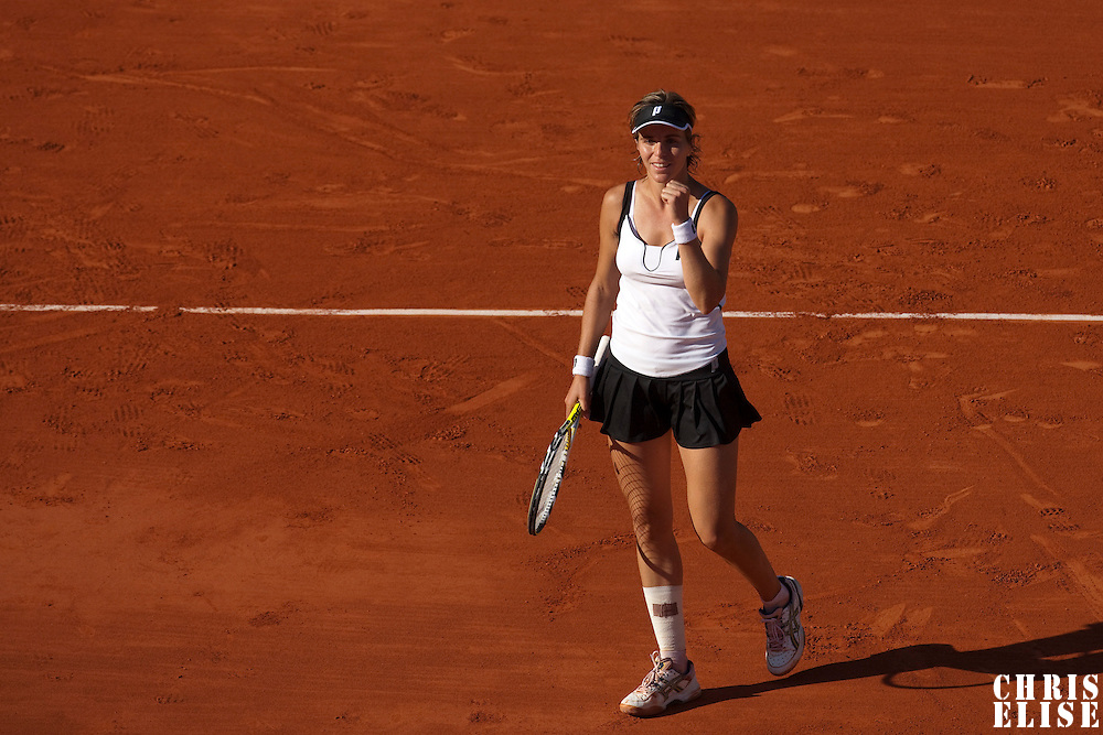 30 May 2009: Maria Jose Martinez Sanchez of Spain celebrates during the the Women's Third Round match on day seven of the French Open at Roland Garros in Paris, France.